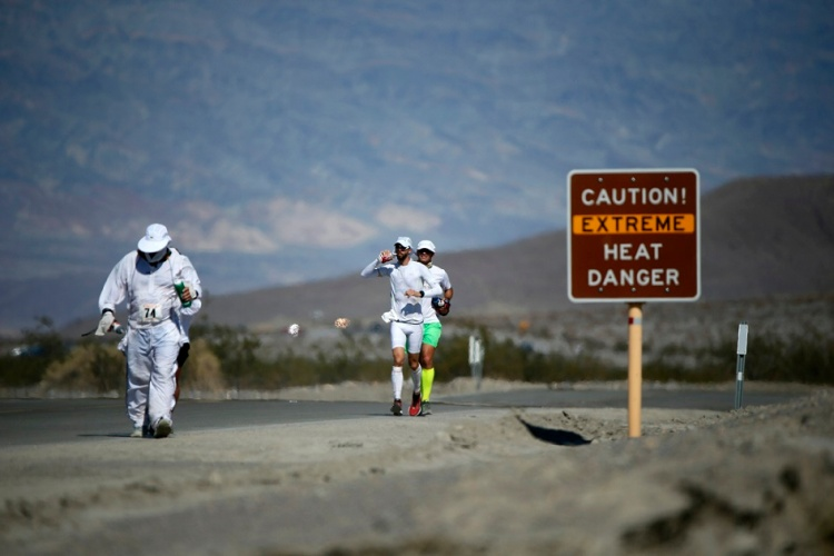 Competitors run in the Badwater Ultramarathon in Death Valley National Park