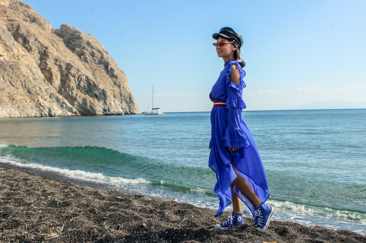 blue dress in Santorini